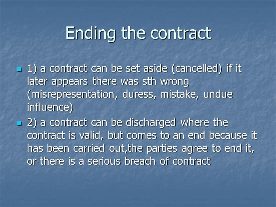 Ending the contract