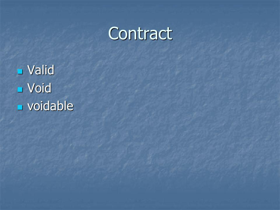 Contract Valid Void voidable