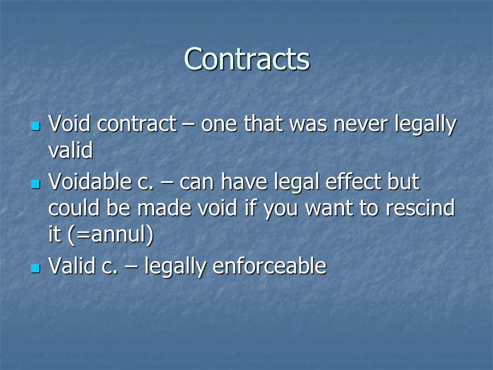 Contracts Void contract – one that was never legally valid