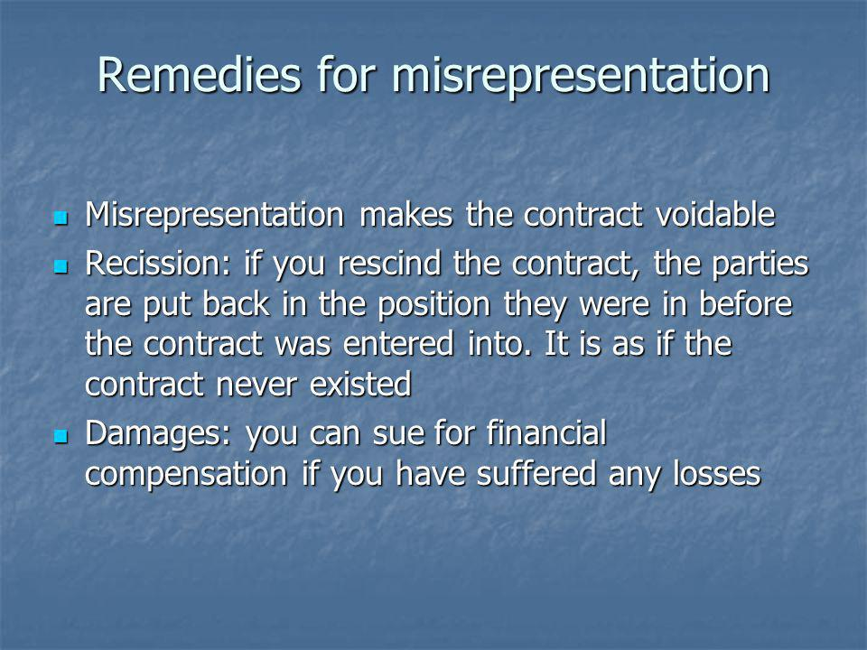 Remedies for misrepresentation