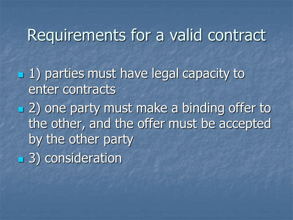 Requirements for a valid contract