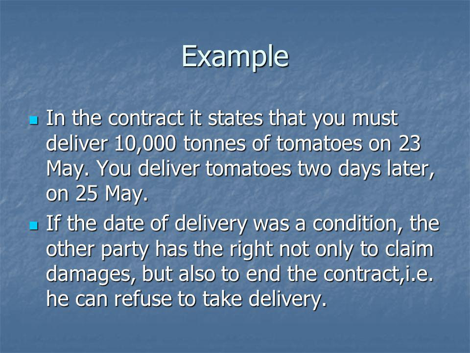 Example In the contract it states that you must deliver 10,000 tonnes of tomatoes on 23 May. You deliver tomatoes two days later, on 25 May.