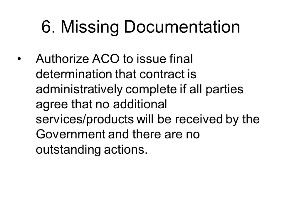 6. Missing Documentation