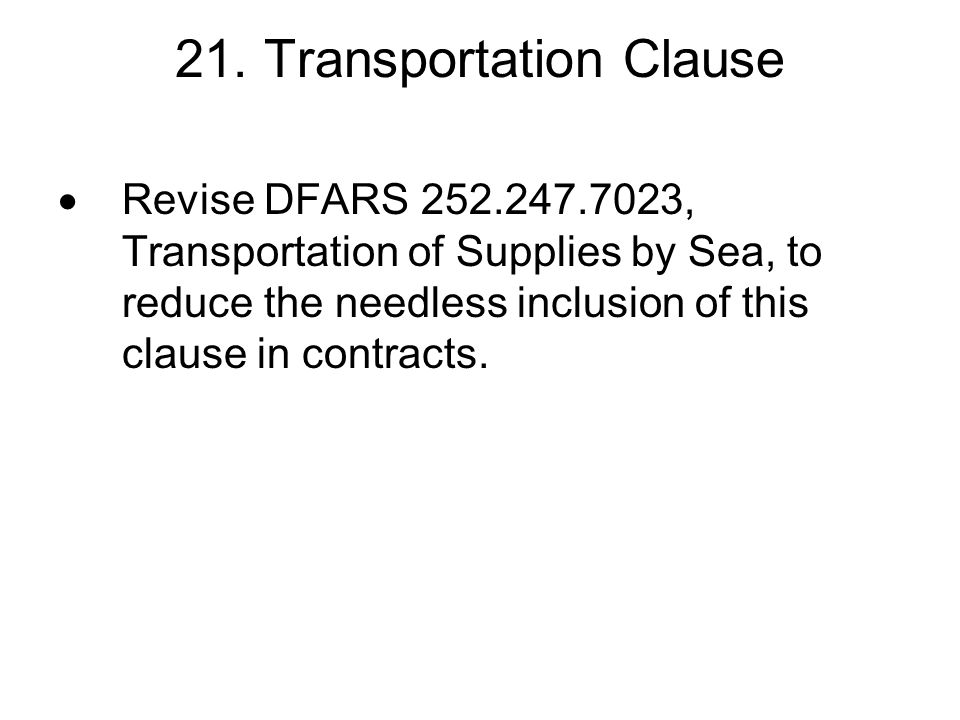 21. Transportation Clause