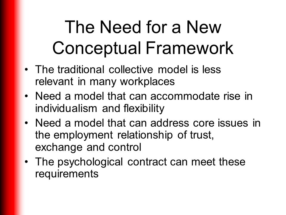 The Need for a New Conceptual Framework