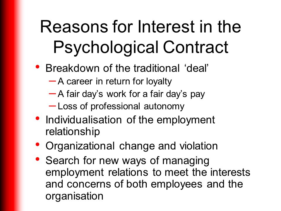 Reasons for Interest in the Psychological Contract