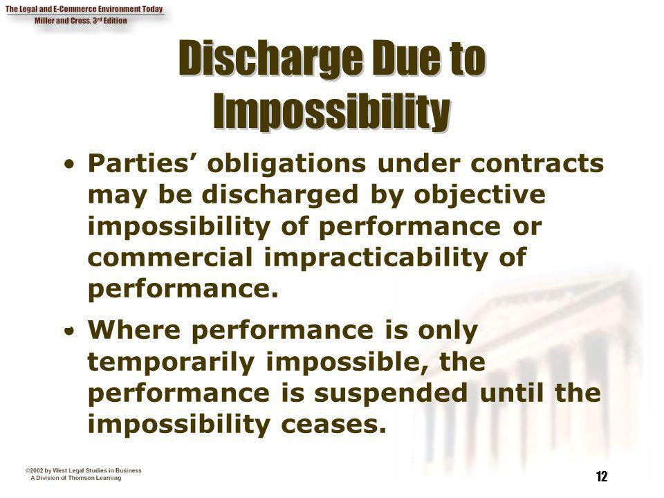 Discharge Due to Discharge Due to Impossibility Impossibility