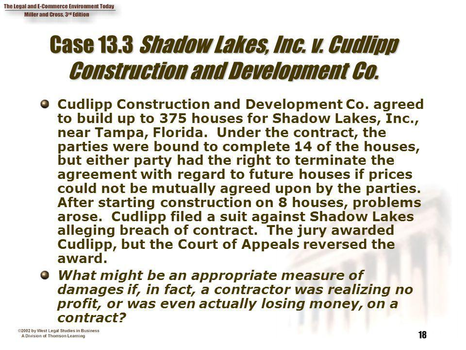Case 13.3 Shadow Lakes, Inc. v. Cudlipp Construction and Development Co.