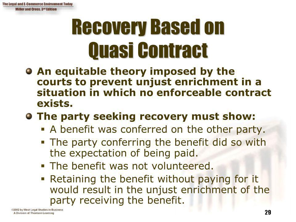 Recovery Based on Quasi Contract
