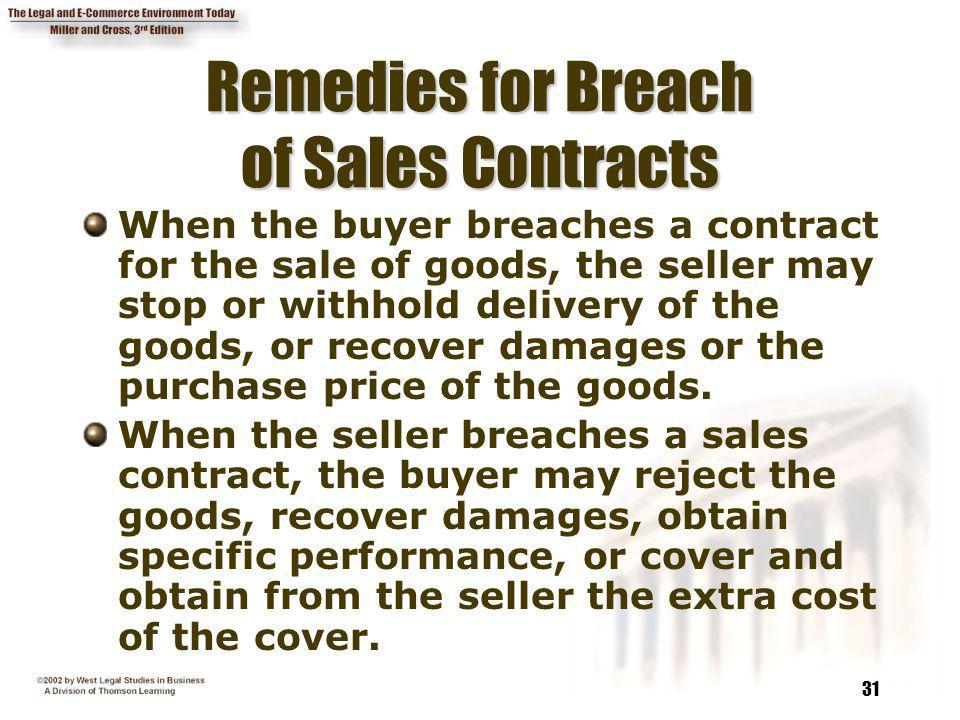 Remedies for Breach of Sales Contracts