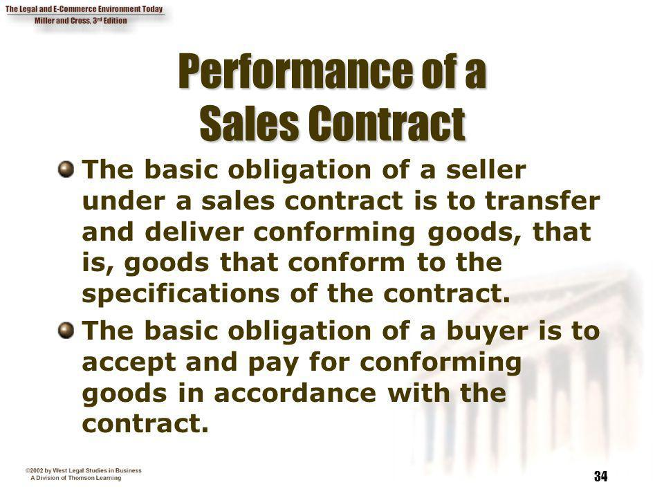 Performance of a Sales Contract