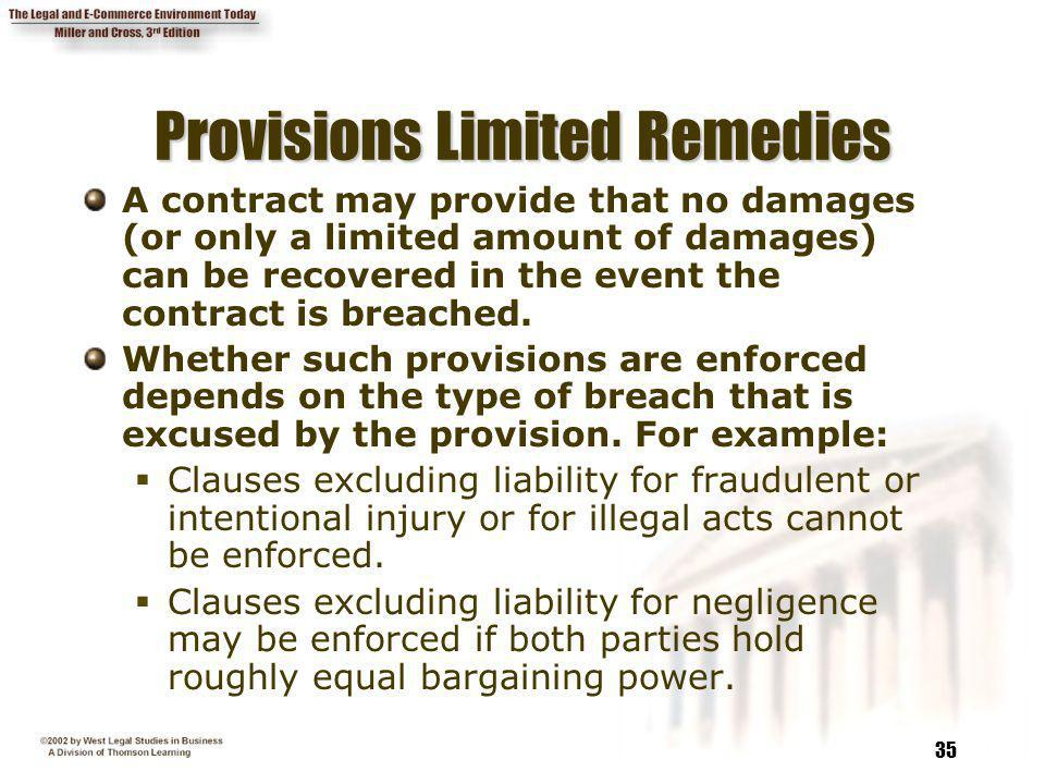Provisions Limited Remedies