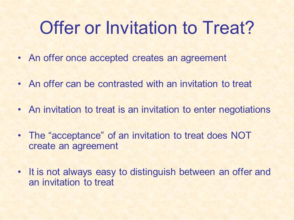 Offer or Invitation to Treat
