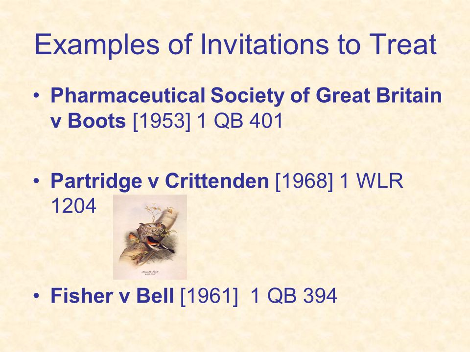 Examples of Invitations to Treat