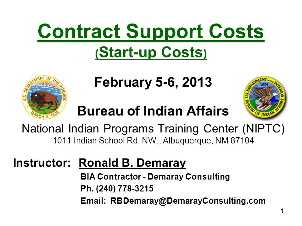 Contract Support Costs (Start-up Costs)