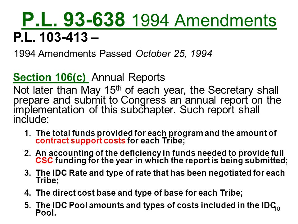 P.L. 93-638 1994 Amendments P.L. 103-413 – 1994 Amendments Passed October 25, 1994. Section 106(c) Annual Reports.