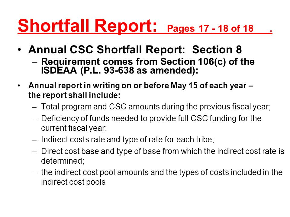 Shortfall Report: Pages 17 - 18 of 18 .