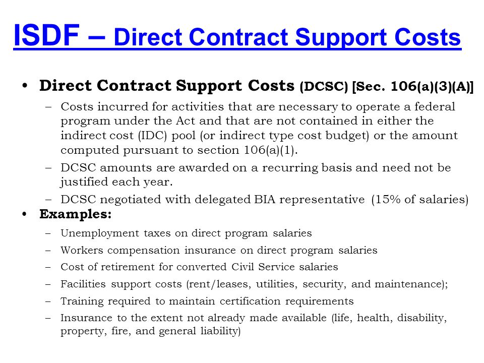 ISDF – Direct Contract Support Costs