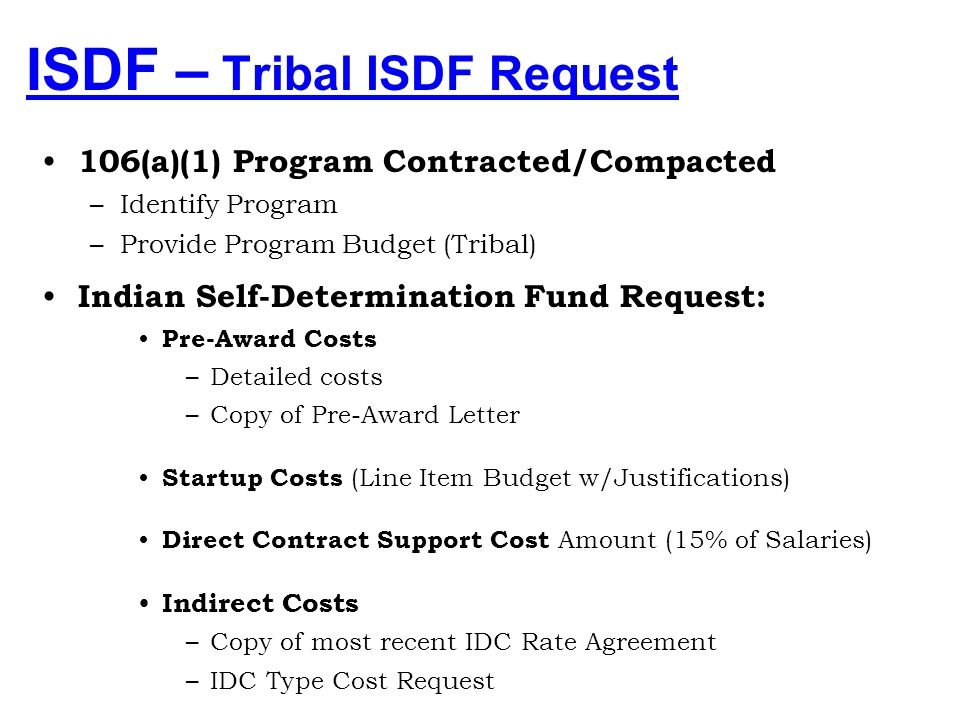 ISDF – Tribal ISDF Request