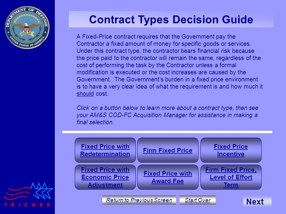 Contract type decision guide ppt download for Fixed price construction contract