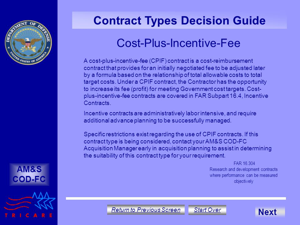 Contract type decision guide ppt download for Cost plus contract example