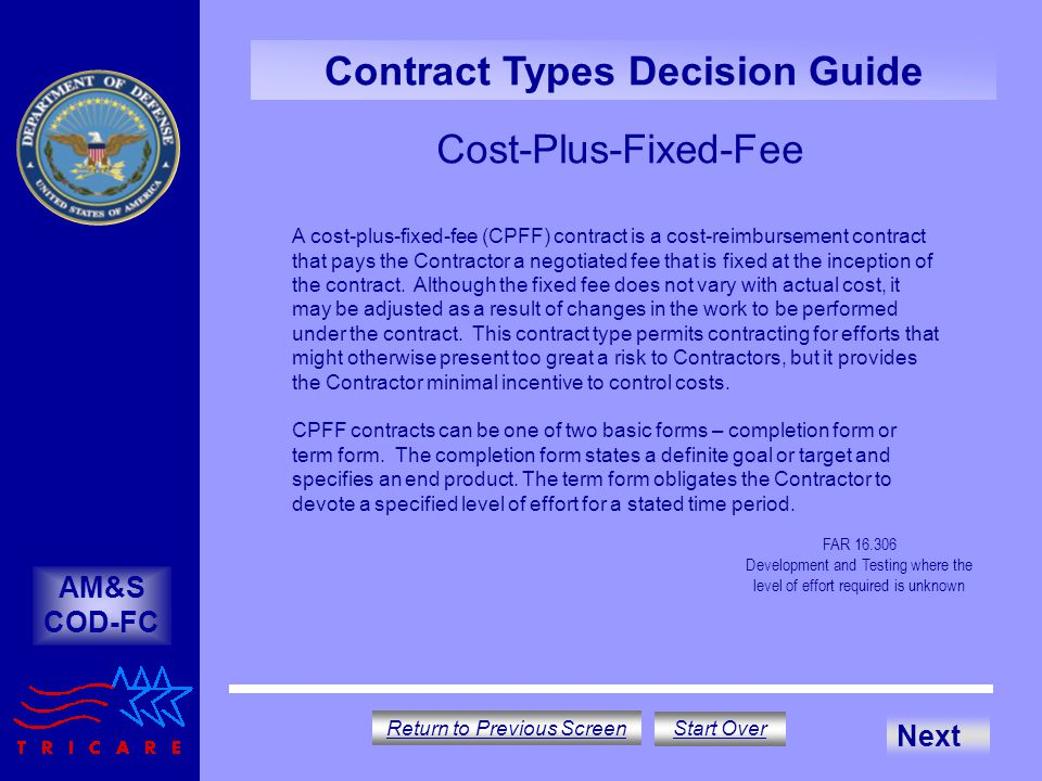 Contract type decision guide ppt download for Cost plus a fee contract form for homebuilding