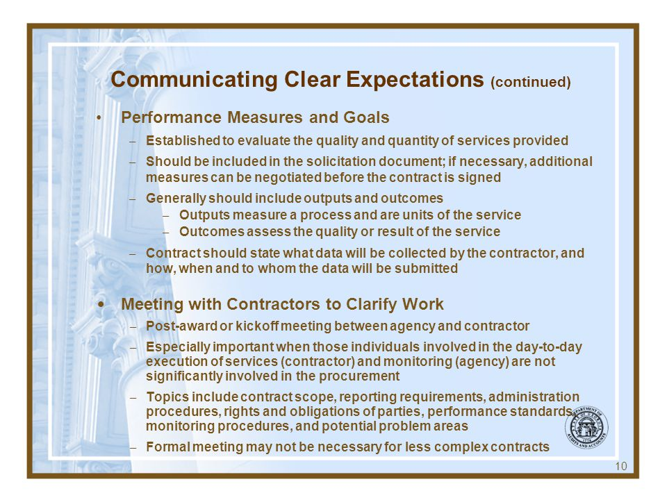 Communicating Clear Expectations (continued)
