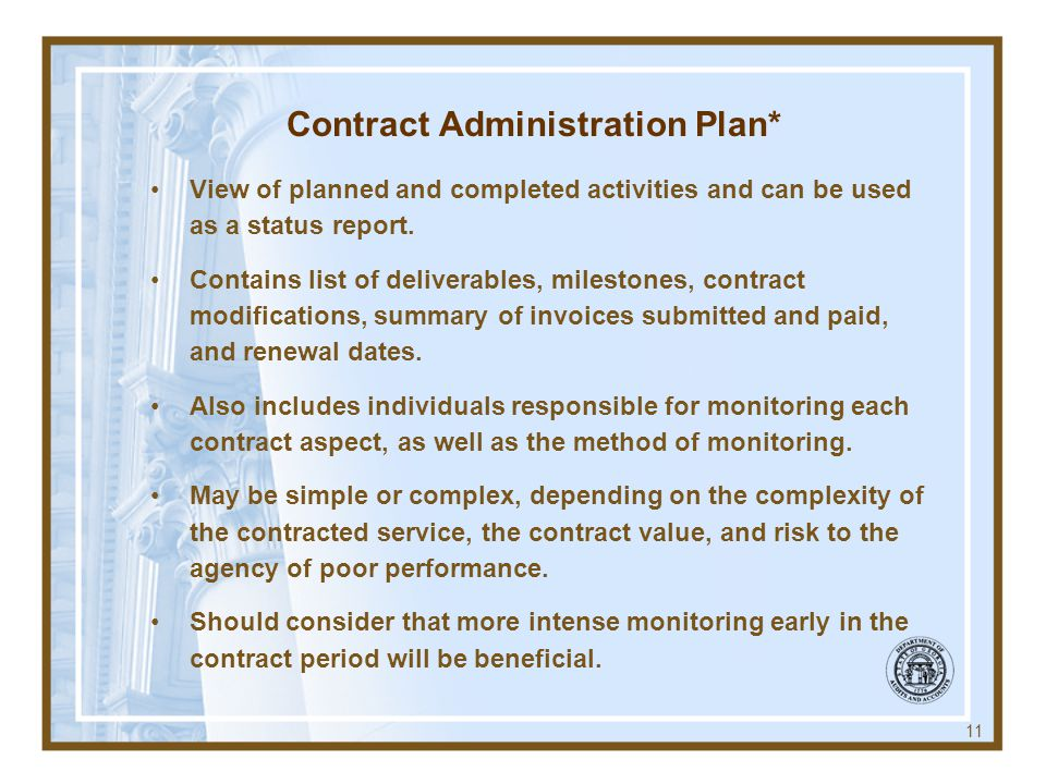 Contract Administration Plan*