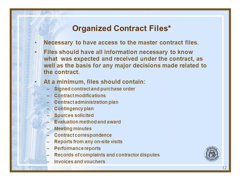 Organized Contract Files*