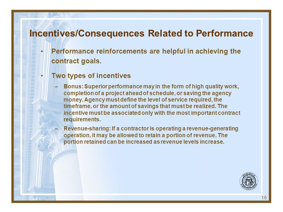 Incentives/Consequences Related to Performance