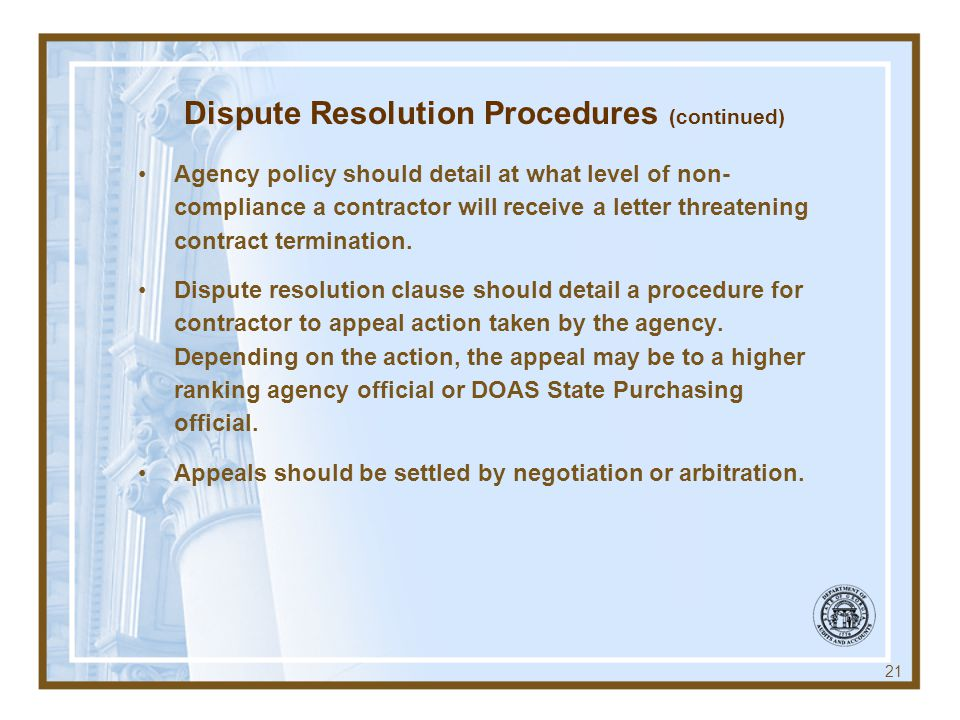 Dispute Resolution Procedures (continued)