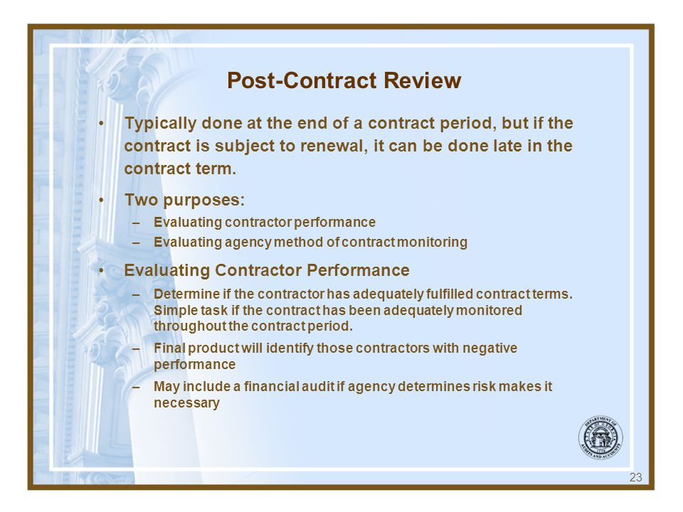 Post-Contract Review