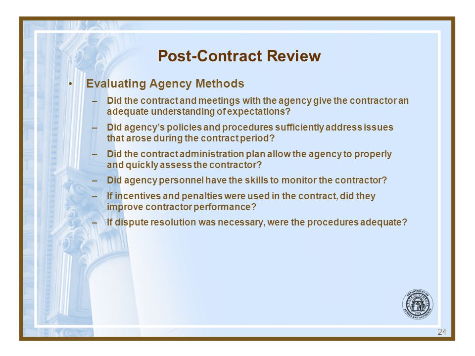 Post-Contract Review Evaluating Agency Methods