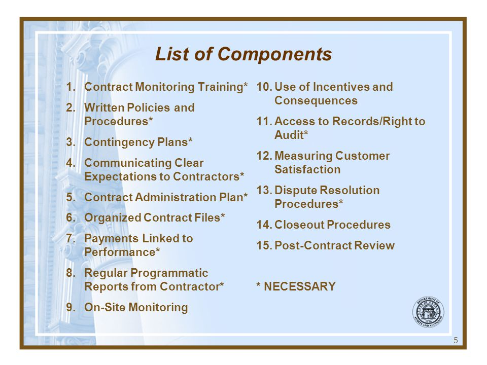 List of Components Contract Monitoring Training*