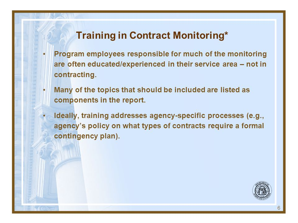 Training in Contract Monitoring*