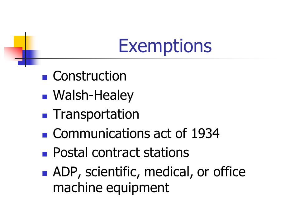 Exemptions Construction Walsh-Healey Transportation