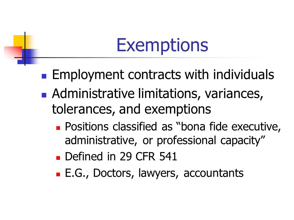 Exemptions Employment contracts with individuals
