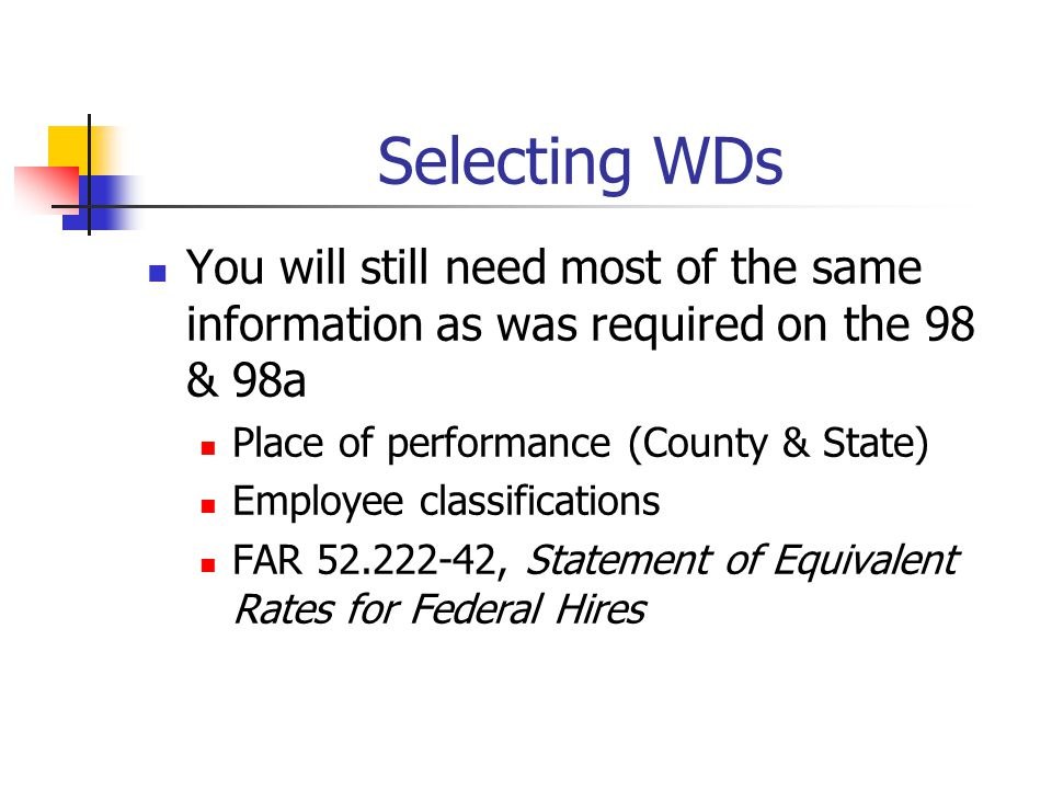 Selecting WDs You will still need most of the same information as was required on the 98 & 98a. Place of performance (County & State)