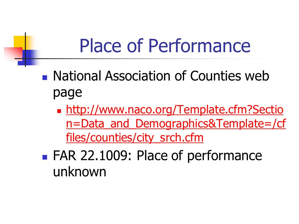 Place of Performance National Association of Counties web page