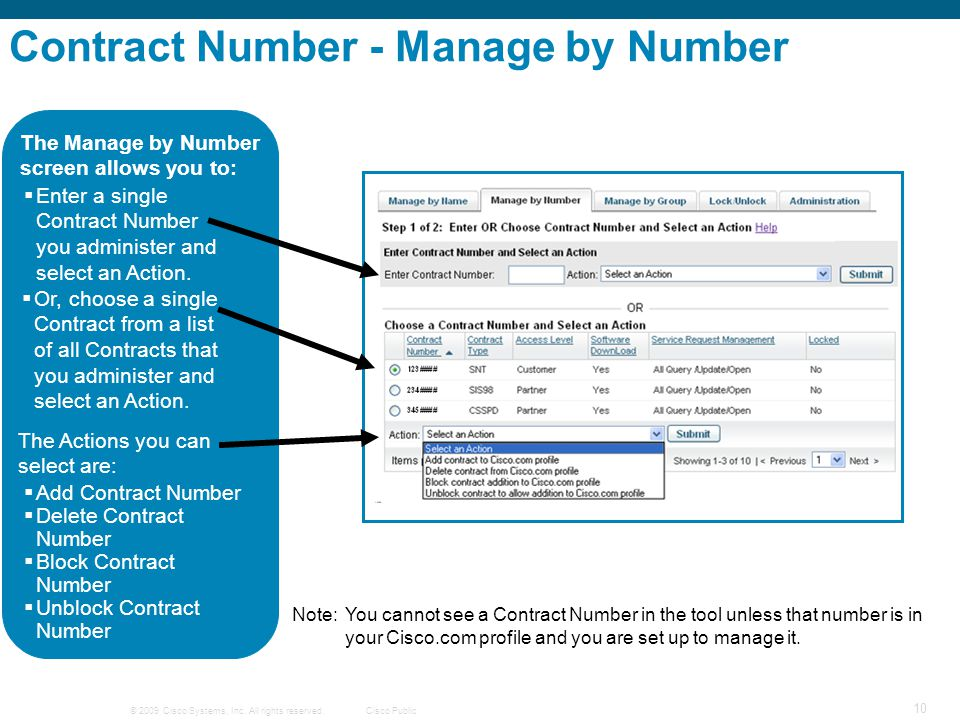 Contract Number - Manage by Number