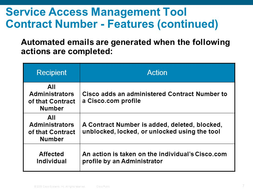 Service Access Management Tool Contract Number - Features (continued)