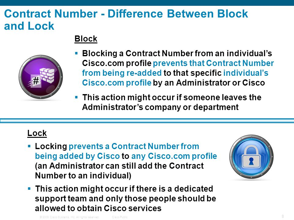 Contract Number - Difference Between Block and Lock