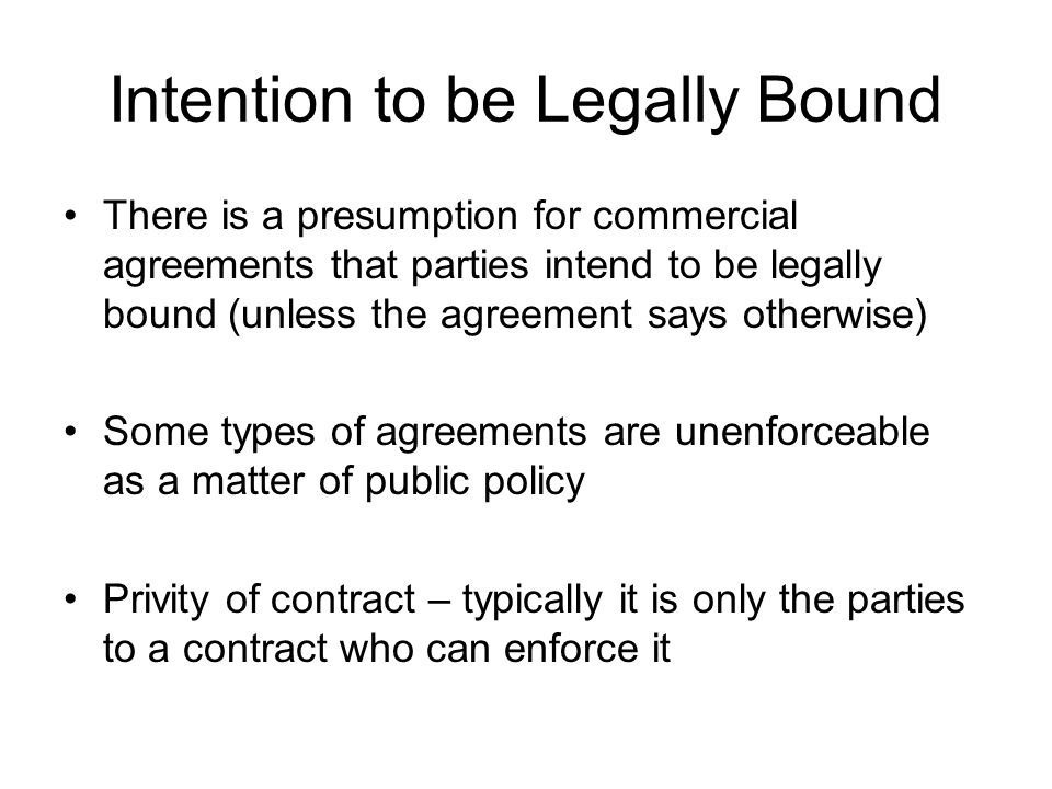 Intention to be Legally Bound