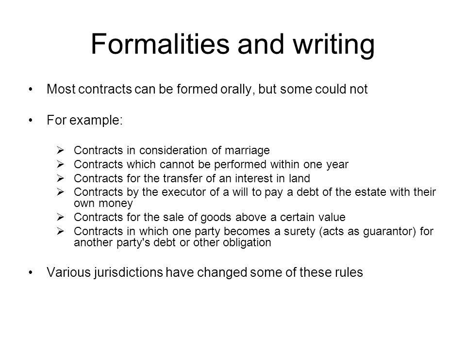 Formalities and writing