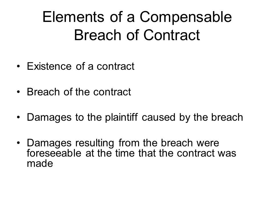 Elements of a Compensable Breach of Contract
