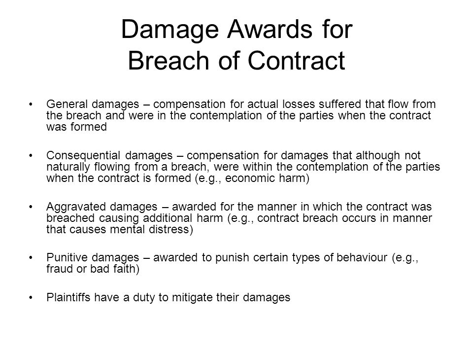Damage Awards for Breach of Contract