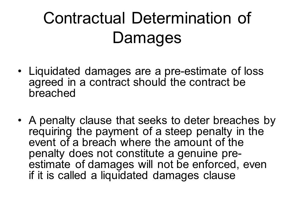 Contractual Determination of Damages