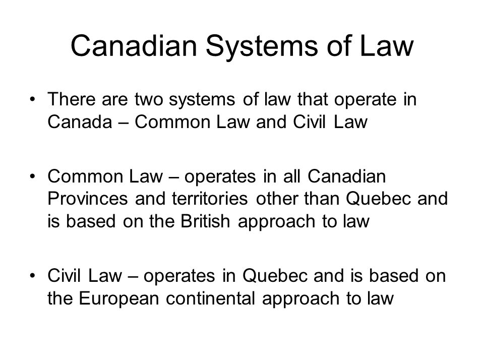 Canadian Systems of Law