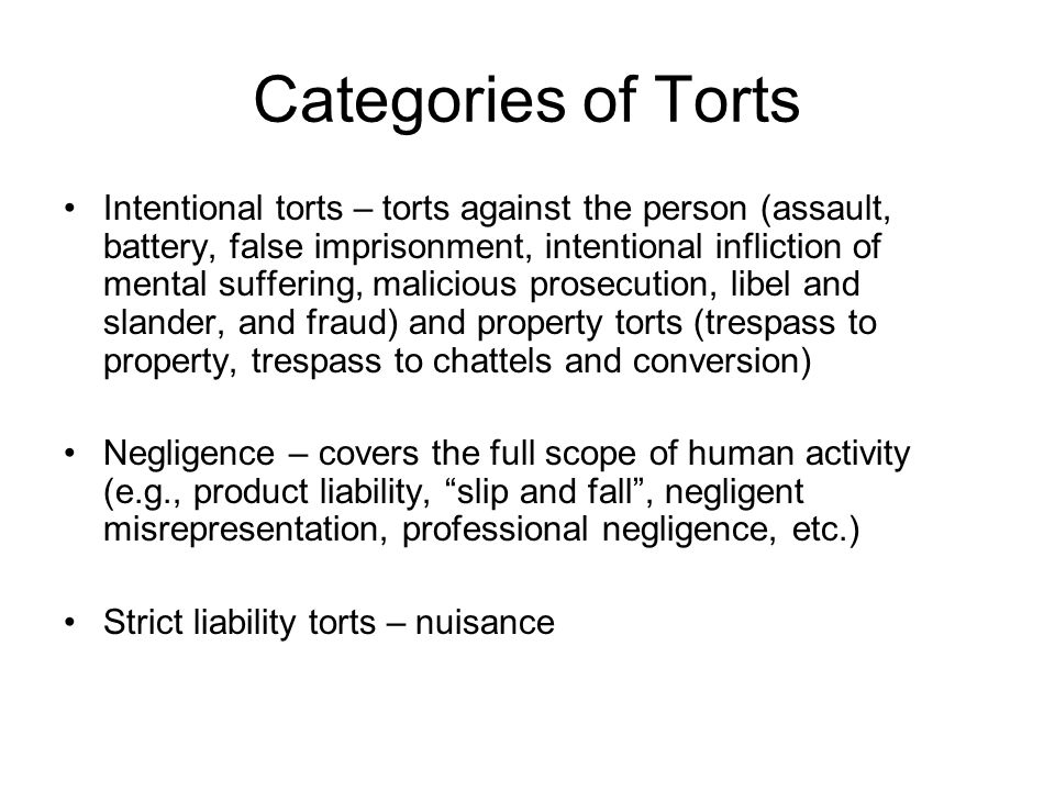 Categories of Torts