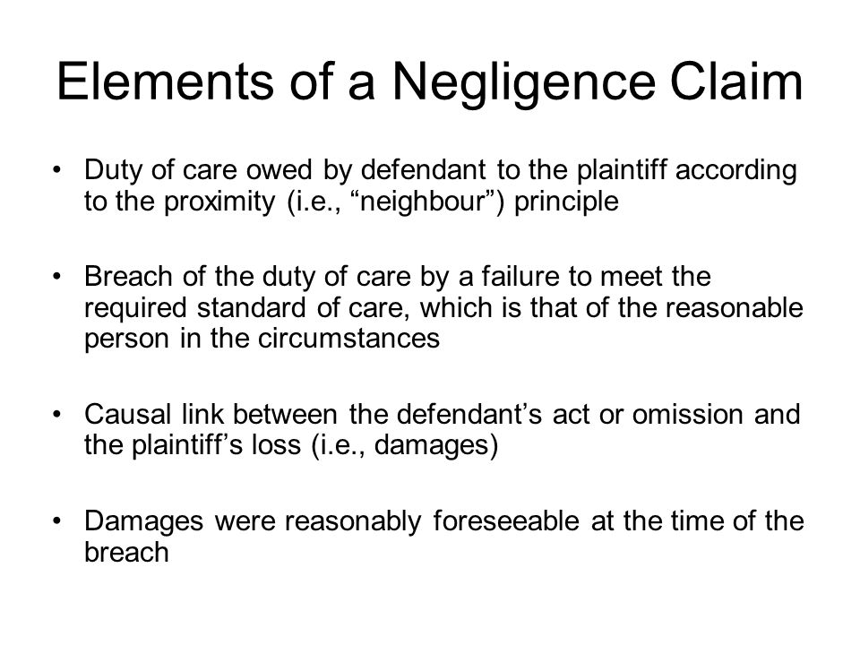 Elements of a Negligence Claim